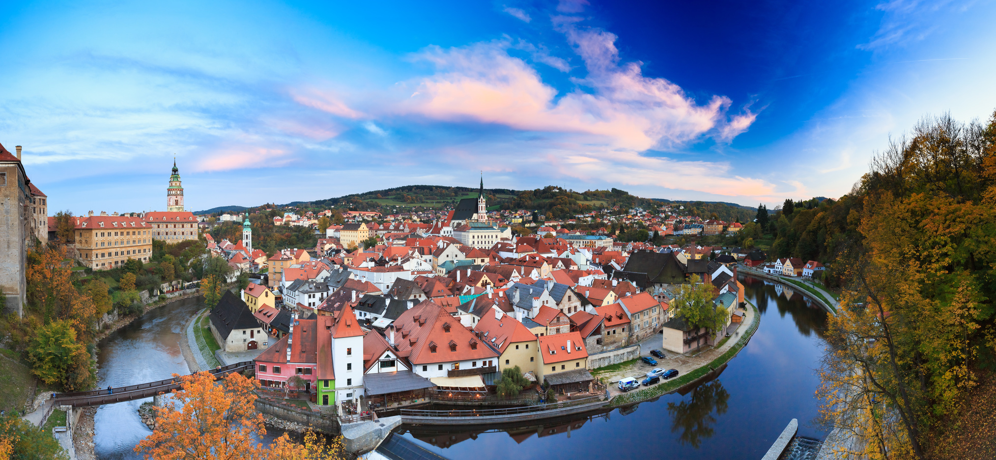 Panorama cityscape Cesky Krumlov, Czech republic. Autumn evening. UNESCO World Heritage Site